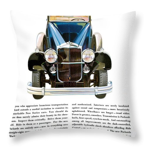 Automobile Throw Pillow featuring the drawing Packard Automobile - Vintage Poster by World Art Prints And Designs