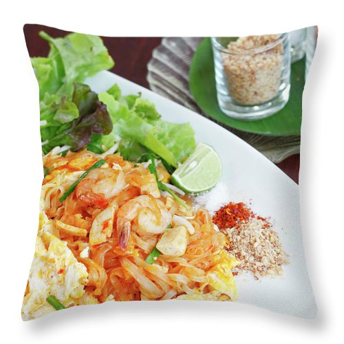Prawn Throw Pillow featuring the photograph Pad Thai by Tommyix