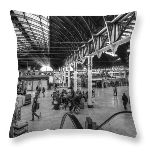 Paddington Throw Pillow featuring the photograph Paddington Station Bw by David French
