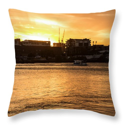 Sunset Throw Pillow featuring the photograph Paddle By The Sunset by Michael Podesta