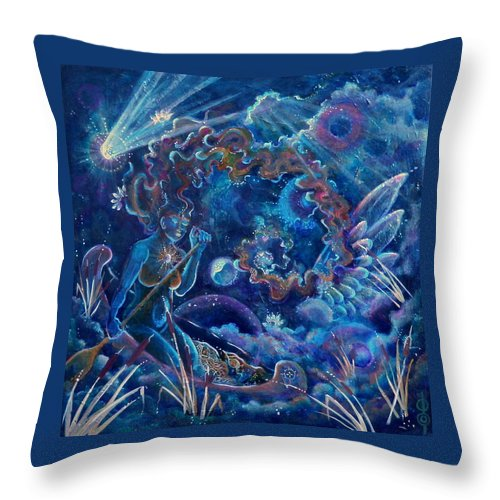 Throw Pillow featuring the painting Paddling Her Own Canoe by Crystal Charlotte Easton