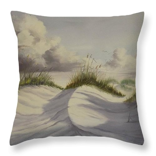 White Sand Dunes Throw Pillow featuring the painting Padre Island Texas by Wanda Dansereau