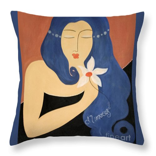 #female Throw Pillow featuring the painting Page by Jacquelinemari