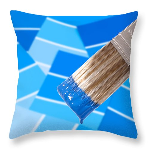 Paint Throw Pillow featuring the photograph Paint Brush - Blue by Amanda Elwell