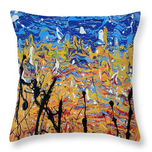 Nonobjective Art Throw Pillow featuring the painting Paint Number Fifteen by Ric Bascobert