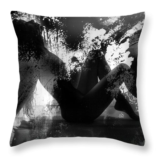 Silhouette Throw Pillow featuring the photograph Paint Over Nude Silhouette by Kendree Miller