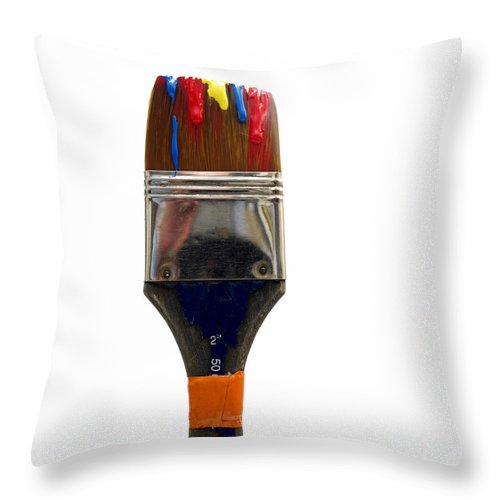 Studio Shot Throw Pillow featuring the photograph Paintbrush by Bernard Jaubert