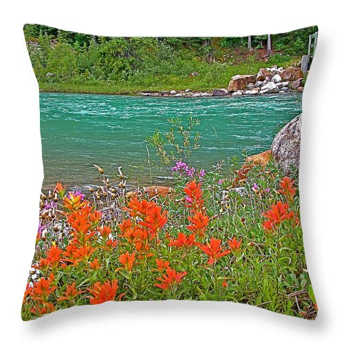 Paintbrush By Bow River In Banff National Park Throw Pillow featuring the photograph Paintbrush By Bow River In Banff Np-ab by Ruth Hager