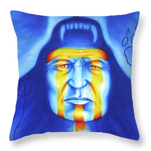 Native American Art Throw Pillow featuring the painting Painted Bear by Robert Martinez
