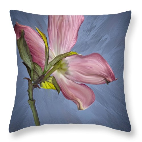 Pink Throw Pillow featuring the photograph Painted Dogwood by Maggie Magee Molino