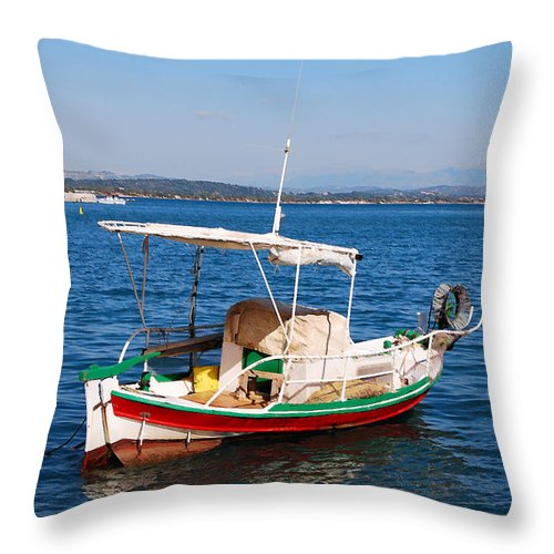 Corfu Throw Pillow featuring the digital art Painted Fishing Boat In Corfu Greece by Eva Kaufman