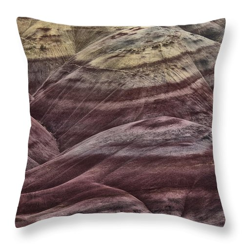 Hills Throw Pillow featuring the photograph Painted Hills by Erika Fawcett