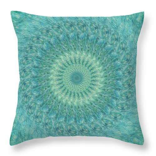 Kaleidoscope Throw Pillow featuring the digital art Painted Kaleidoscope 4 by Rhonda Barrett