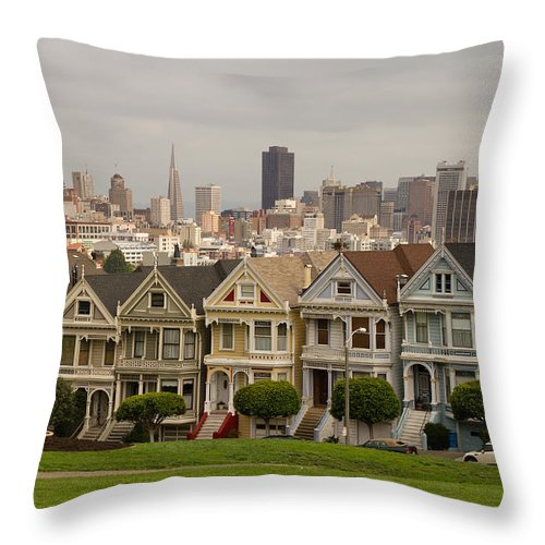 Painted Throw Pillow featuring the photograph Painted Ladies Row Houses And San Francisco Skyline by Jit Lim