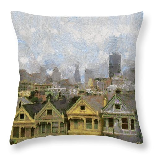 Wright Throw Pillow featuring the photograph Painted Ladies - San Francisco by Paulette B Wright