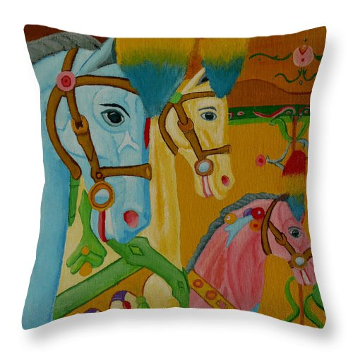 Carousel Throw Pillow featuring the painting Painted Ponies by Anthony Dunphy