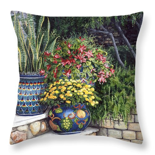 Floral Throw Pillow featuring the painting Painted Pots by Mary Palmer