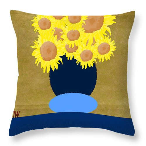 Digital Art Throw Pillow featuring the photograph Painted Sunflowers by Tina M Wenger