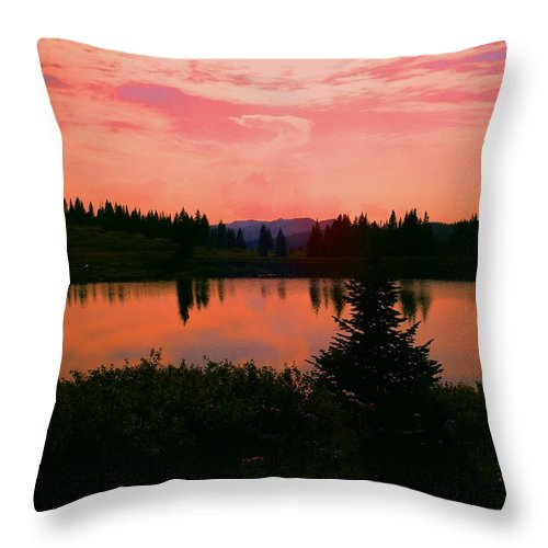 Orange Sky Throw Pillow featuring the photograph Painted Sunset by Laurie Purcell