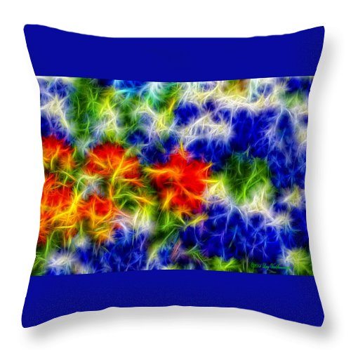 Texas Canvas Print Throw Pillow featuring the photograph Painted Wildflowers by Lucy VanSwearingen