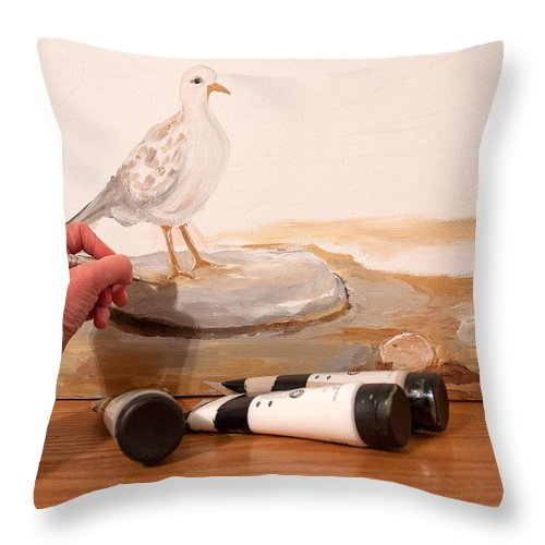 Artist Painting Throw Pillow featuring the painting Painting A Dove by Lena Wilhite