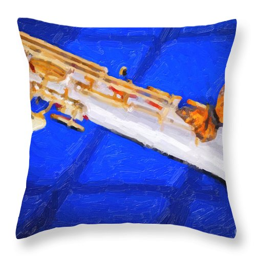 Soprano Sax Throw Pillow featuring the painting Painting Of A Soprano Saxophone And Butterfly 3352.02 by M K Miller