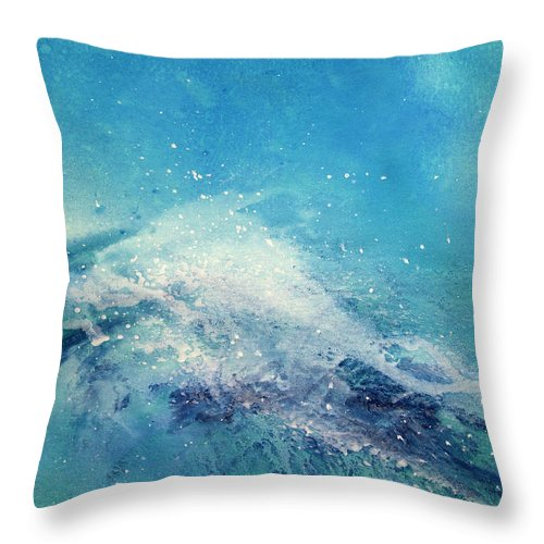 Gouache Throw Pillow featuring the digital art Painting Of An Ocean Wave by Brad Rickerby