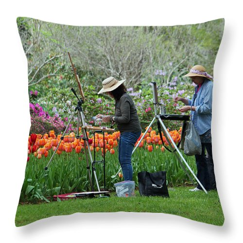 Art Throw Pillow featuring the photograph Painting Springtime by Suzanne Gaff