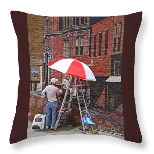Artist Throw Pillow featuring the photograph Painting The Past by Ann Horn