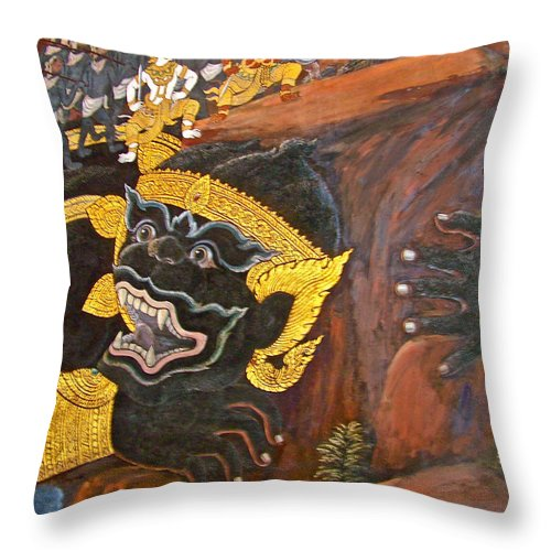 Paintings On Wall Of Middle Court Hall Of Grand Palace Of Thailand In Bangkok Throw Pillow featuring the photograph Paintings On Wall Of Middle Court Hall Of Grand Palace Of Thailand by Ruth Hager
