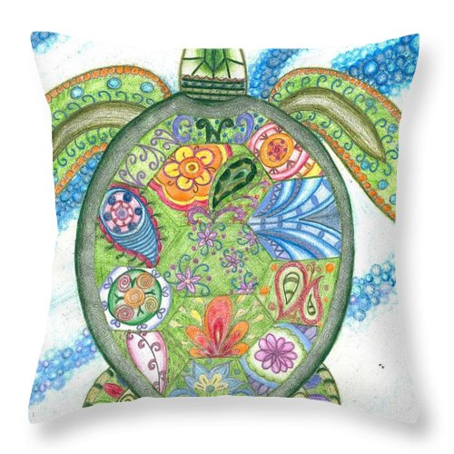 Paisley Sea Turtle Throw Pillow featuring the drawing Paisley Sea Turtle by Collette Augustine