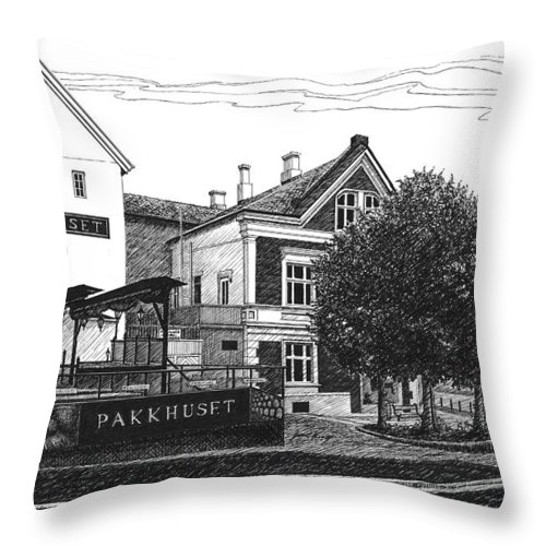 Pakkhuset Throw Pillow featuring the drawing Pakkhuset by Janet King