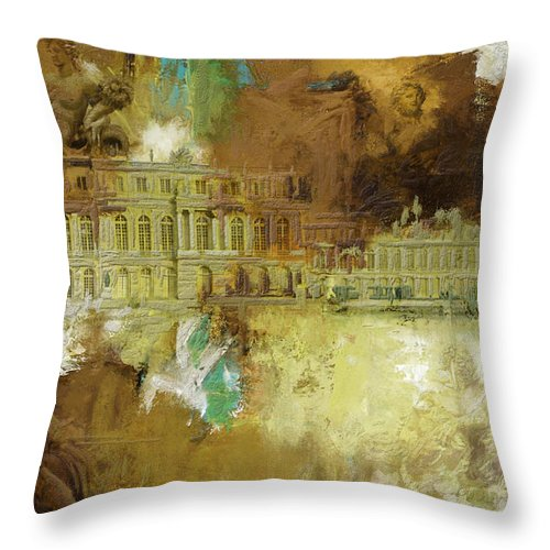 Western Ghats Throw Pillow featuring the painting Palace And Park Of Versailles by Catf