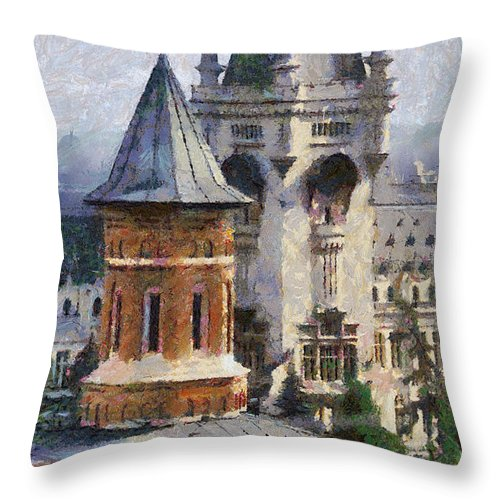 Chapel Throw Pillow featuring the painting Palace Of Culture by Jeffrey Kolker
