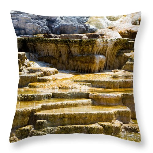 Hot Spring Terraces Throw Pillow featuring the photograph Palette Spring 2 Yellowstone National Park Wy by Dan Hartford