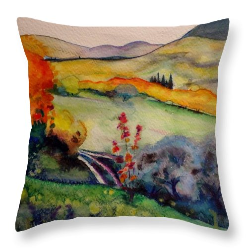 Autumn Throw Pillow featuring the painting Pali Secchi by Alberta Boato