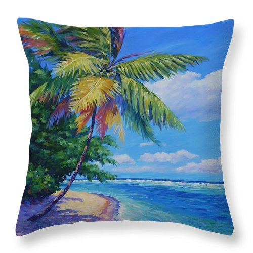 Art Throw Pillow featuring the painting Palm At The Water's Edge by John Clark