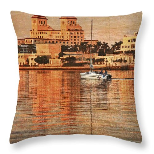 Boats Throw Pillow featuring the photograph Palm Beach At Golden Hour by Debra and Dave Vanderlaan