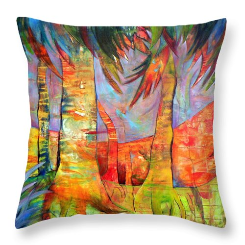Landscape Throw Pillow featuring the painting Palm Jungle by Elizabeth Fontaine-Barr