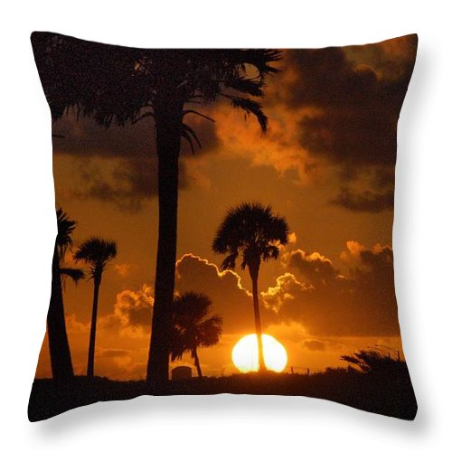 Palm Throw Pillow featuring the digital art Palm Tree Sunrise In Gulf Shores by Michael Thomas