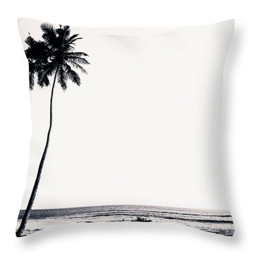 Empty Throw Pillow featuring the photograph Palm Trees And Beach Silhouette by Chrispecoraro