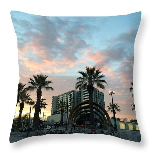 Los Angeles Throw Pillow featuring the photograph Palm Trees And Bikes At Noho by Ann Marie Donahue