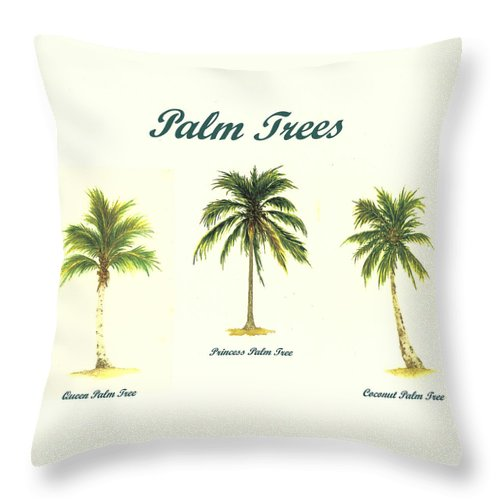 Tree Throw Pillow featuring the painting Palm Trees by Michael Vigliotti
