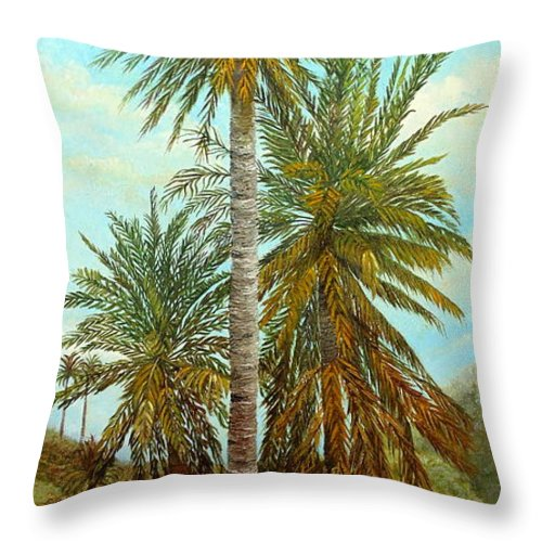 Palm Trees Painting Throw Pillow featuring the painting Palm Trees by Angeles M Pomata