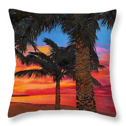 Seacape Throw Pillow featuring the painting Palme Al Tramonto by Guido Borelli