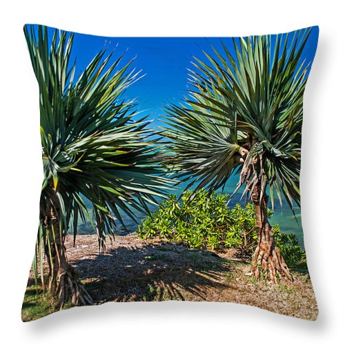Mauritius Throw Pillow featuring the photograph Palms On The Beach. Mauritius by Jenny Rainbow
