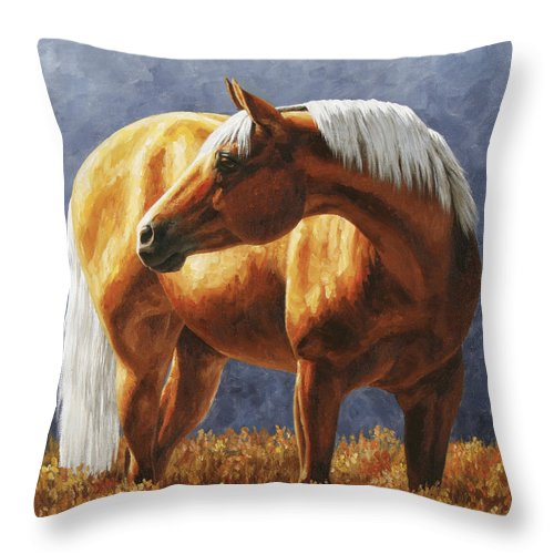 Horse Throw Pillow featuring the painting Palomino Horse - Gold Horse Meadow by Crista Forest