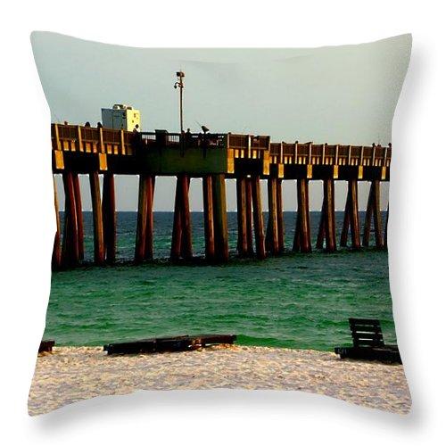 Sand Throw Pillow featuring the photograph Panama City Beach Pier 2 by Debra Forand