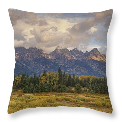North America Throw Pillow featuring the photograph Panaroma Clearing Storm On A Fall Morning In Grand Tetons National Park by Dave Welling