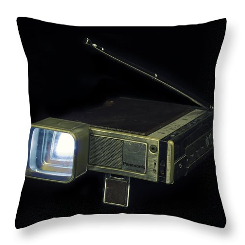 Retro Throw Pillow featuring the photograph Panasonic Portable Tv by Will D'angelo
